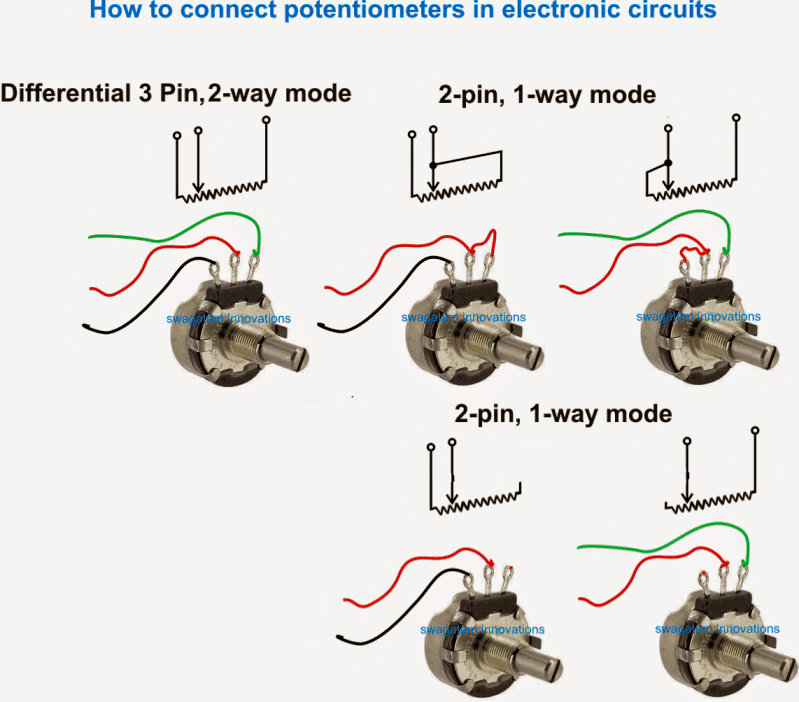 how to connect potetiometer in 3 pin mode and 2 pin mode. Potentiometer connection diagram