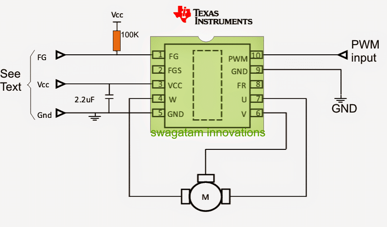 sensorless BLDC driver circuit using a single chip DRV10963