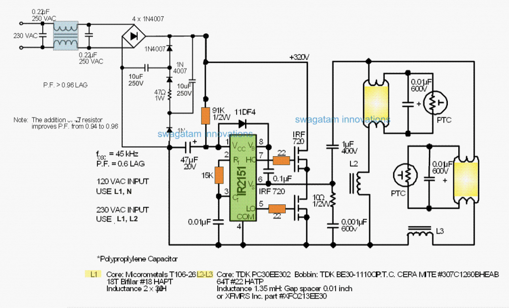 twin 40 watt Electronic Ballast Circuit with PFC protection
