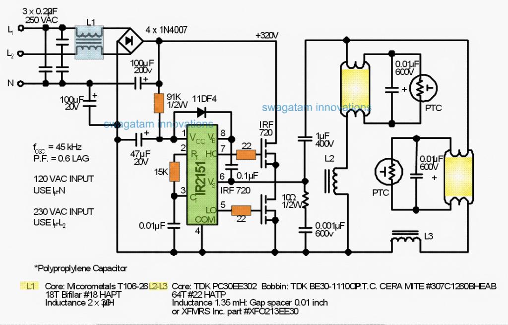 Ballast Circuit for Double 40 Watt Fluorescent Tubes