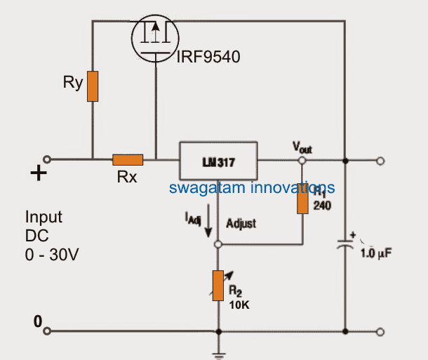 LM317 outboard boost mosfet application circuit