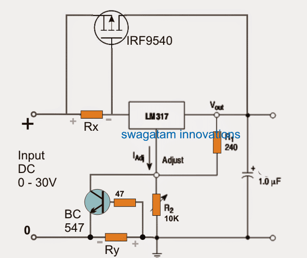 LM317 outboard boost transistor with short circuit protection