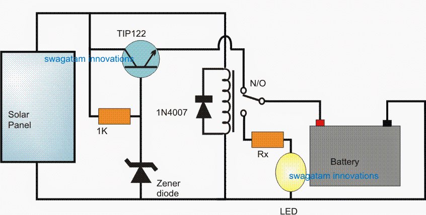 Relay controlled Automatic Solar Light Circuit