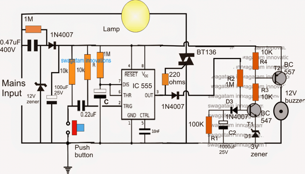 Bathroom Lamp Timer Circuit with Buzzer