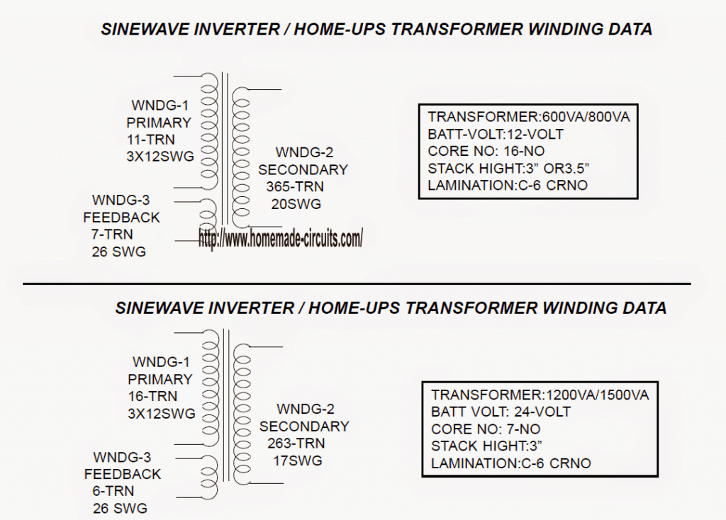 transformer winding details for sinewave ups using PIC16F72