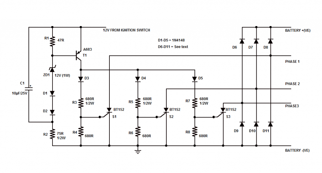 Rectifier plus Regulator for a 3-Phase charging system of Motorcycles
