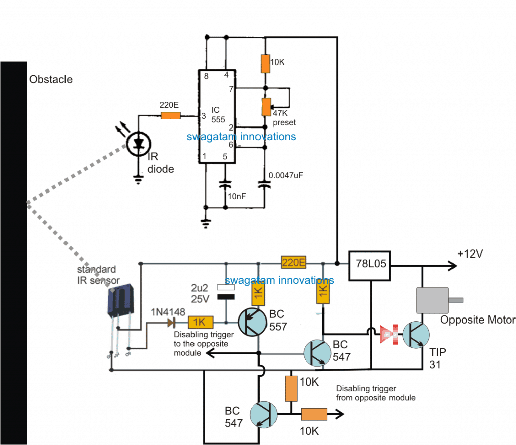 Obstacle Avoiding Robot Circuit