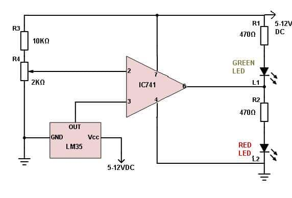 LM35 circuit uses an op-amp IC741 to give an indication