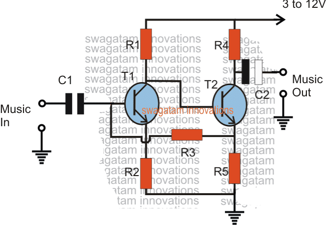 simple preamplifier circuit can be very easily to build by assembling a couple of transistors