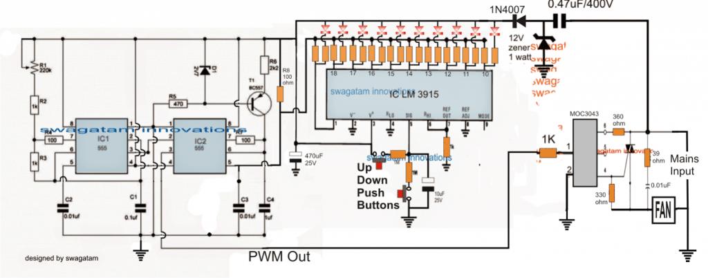 Push Button Fan Regulator Circuit with Display