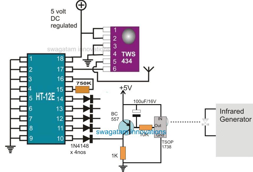 433 MHz Remote Infrared Transmitter Circuit