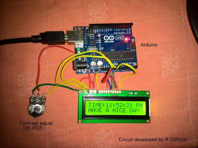 wire connection between the LCD and Arduino