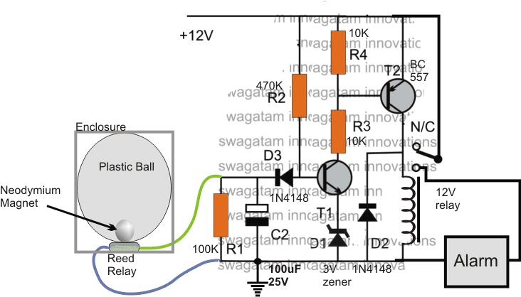 vehicle vibration activated alarm circuit