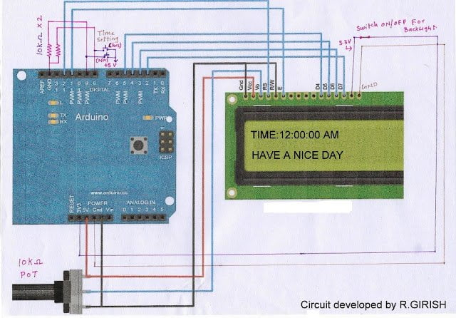 potentiometer is used to adjust the contrast of the display.