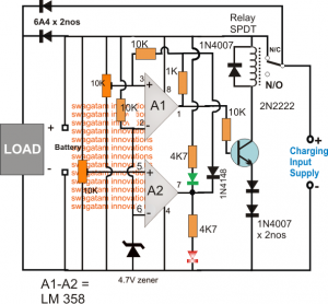 Opamp Low High Battery Charger Controller Circuit