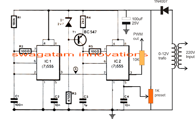 PWM Controlled Voltage Stabilizer Circuit