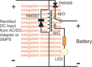 Simple LED Relay Changeover Emergency Lamp Circuit