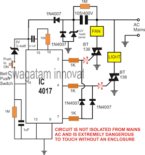 Electronic Switch Circuit for Lights and Fan