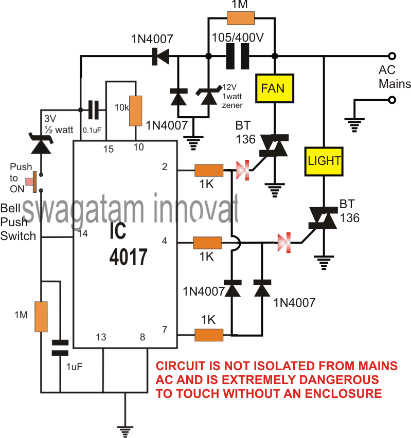 push button controlled flip flop circuit ON OFF
