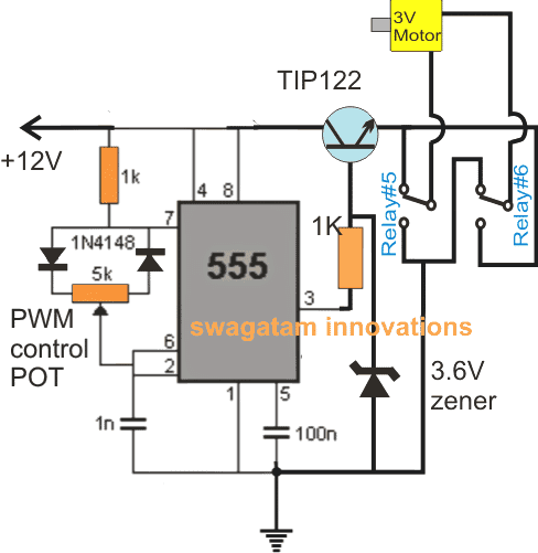 Here Also We Employ The Versatile IC 555 Wired As A Precise PWM Generator Circuit Is Set Appropriately Through 5K Preset Before Finalizing