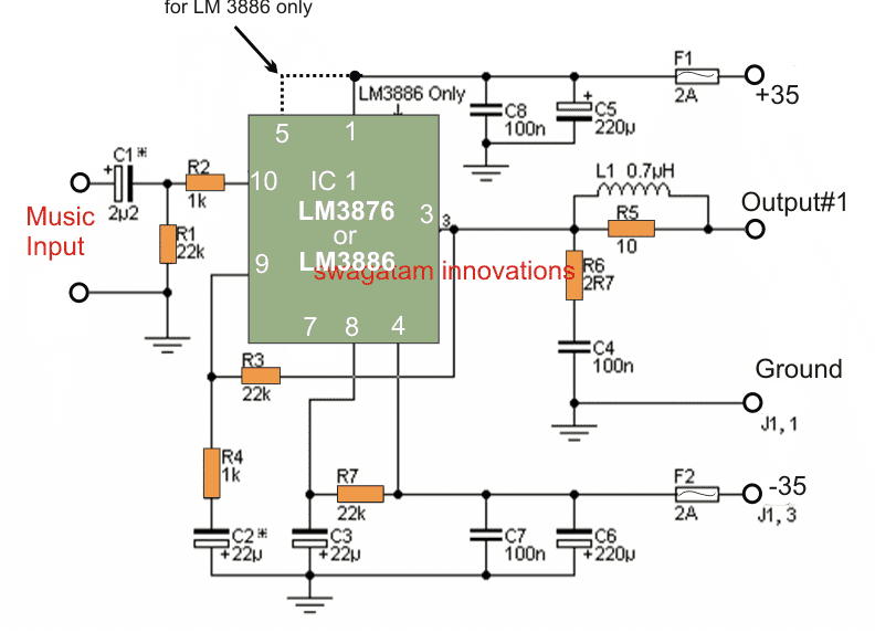 LM3876 based Power Amplifier Circuit