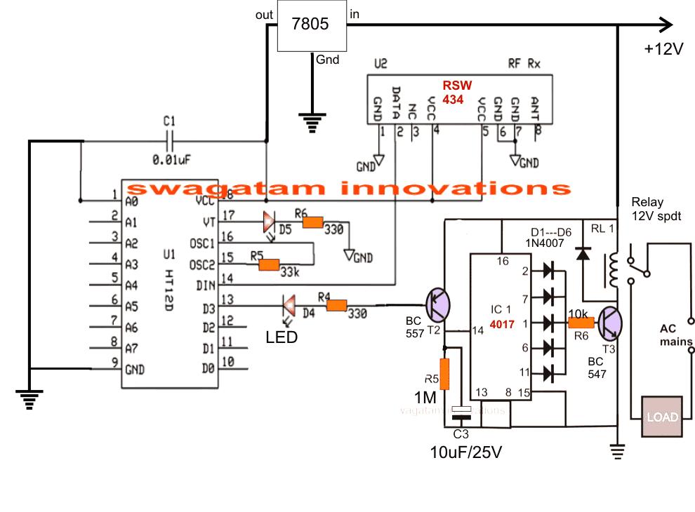 433 MHz RF 8 Appliances Transmitter Circuit