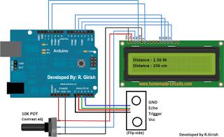 Ultrasonic Distance Meter Circuit Using 16×2 LCD