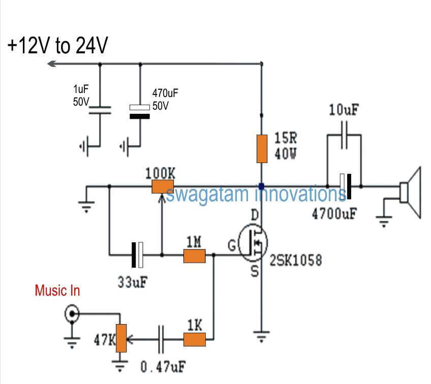 Single Mosfet Class A Power Amplifier Circuit