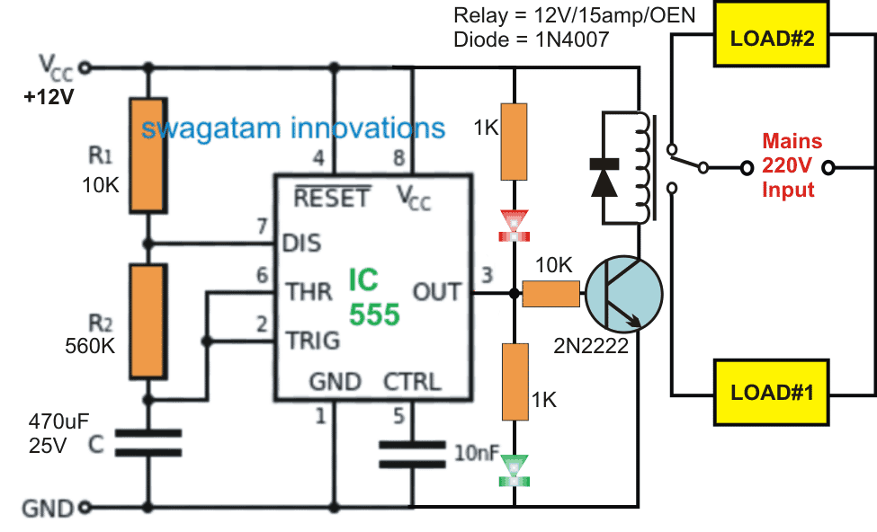 Switching Two Alternate Loads ON/OFF with IC 555