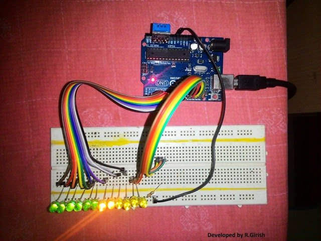 working prototype of LED Room Thermometer Circuit