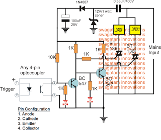 Triac based SPDT Relay Switch Circuit