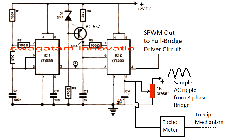 Automatic V/Hz PWM Processor Circuit using IC 555