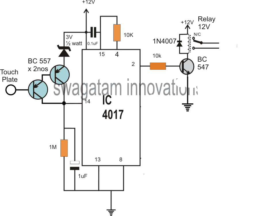 Simple Touch Sensor Switch Circuit using a Single IC 4017