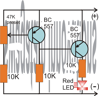 Battery Full Charge Indicator Circuit using Two Transistors