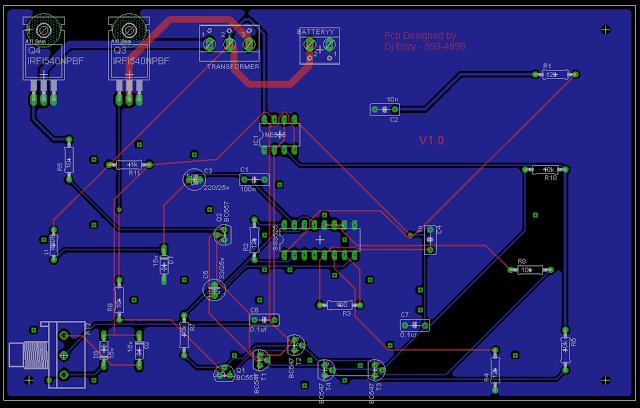 PCB design of SG3525 inverter circuit