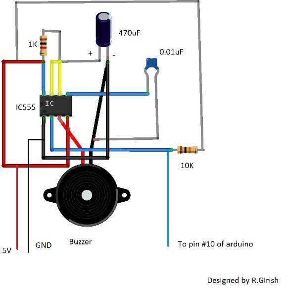 IC 555 buzzer circuit