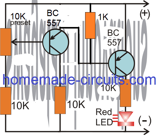 simple 2 transistor LED battery over charge indicator circuit