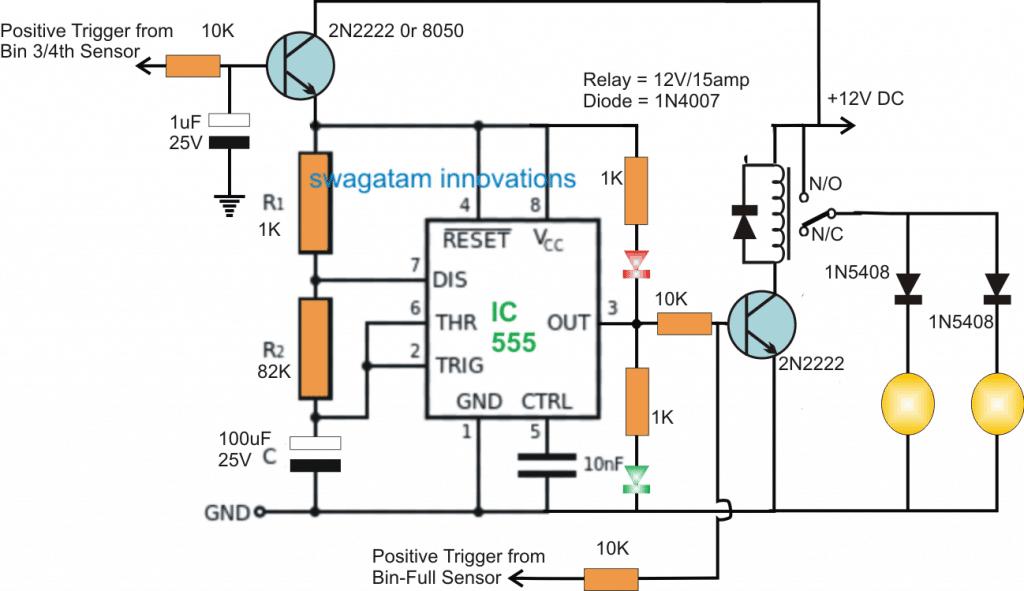 Beacon Level Indicator Circuit for Combine Harvester Grain Tanks
