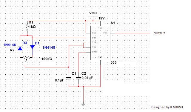 IC 555 pwm with pot and 1N4148