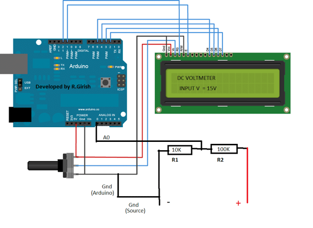 Arduino based DC Voltmeter Circuit – Construction Details and Testing