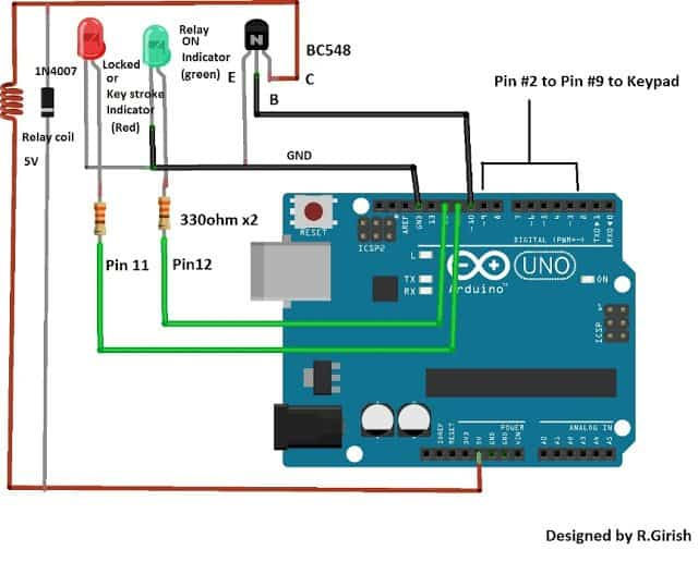 Arduino Password Security Lock Circuit Using 4x4 Keypad