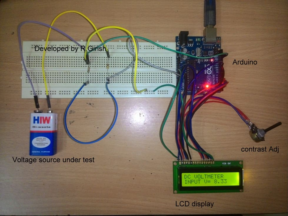 Arduino based DC Voltmeter Test Results