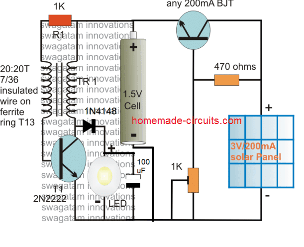 solar pocket LED light circuit using joule thief