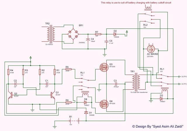 Transistor UPS Circuit with Charger