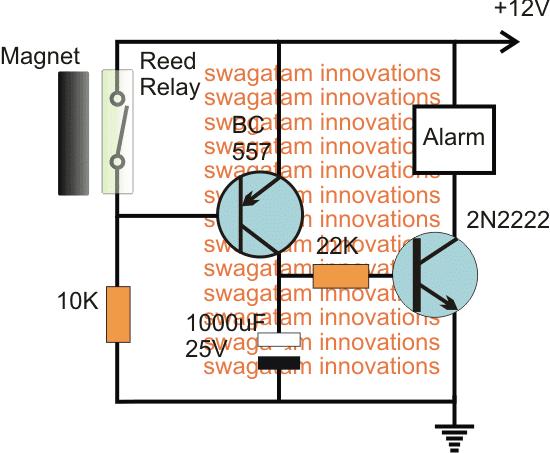 Magnetic Door Security Alarm Circuit