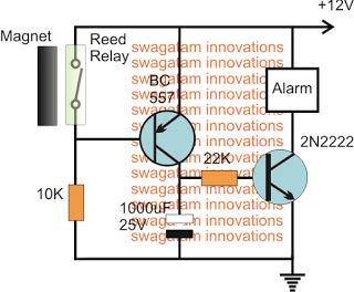 Magnetic Door Security Alarm Circuit for Alerting if Door was Opened