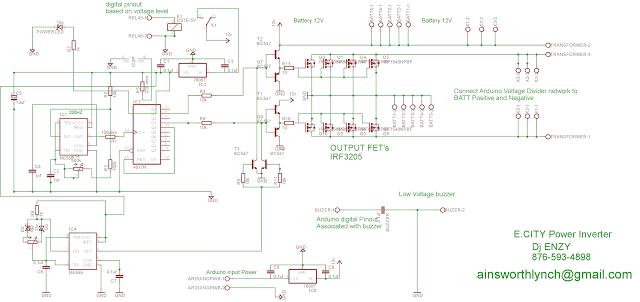 IC 555 Inverter with Arduino Hi/Low Battery Shutdown Circuit
