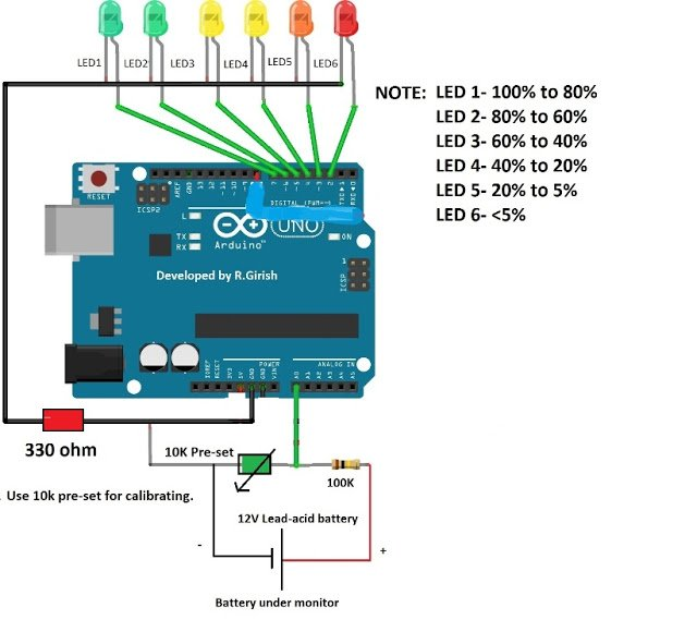 Arduino Battery Level Indicator Circuit Homemade Circuit