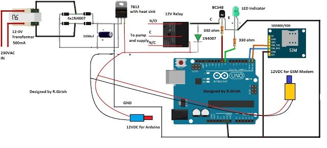 Gsm Pump Motor Controller Circuit Using Arduino Homemade