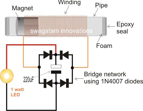 Shake Powered Flashlight Circuit